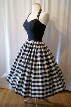 Designer 1980's does 1950's black and white silk by wearitagain, $298.00