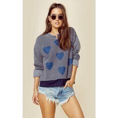 Jet John Eshaya Printed Sweatshirt ($75) ❤ liked on Polyvore featuring tops, hoodies, sweatshirts, pullover sweatshirt, jet by john eshaya, sweater pullover, heart sweatshirt and graphic pullover