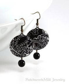 Dangle Earrings - Art Deco Night - Black and White Flowers - Romantic Fabric Covered Buttons Earrings, Classic Czech Beads, Elegant Jewelry by PatchworkMillJewelry