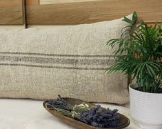 Authentic Grain Sack Body Pillow Sham Grey Gray Stripes / Antique linen / Handwoven hemp fabric / Handmade Pillow Sham