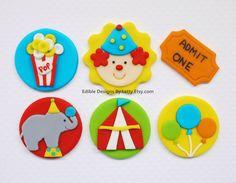 Edible Fondant Circus Themed Cupcake by EdibleDesignsByLetty Circus Theme Cupcakes, Carnival Cupcakes, Circus Cookies, Kid Cupcakes, Themed Cupcakes, Carnival Birthday Parties, Circus Birthday, 1st Boy Birthday, Circus Party