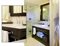 Luxurious finishes bringing the feel of the beach into the bath at L'Auberge Del Mar
