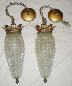 2 Vintage Light Craft Pineapple Cut Crystal Glass Pendant Swag Ceiling Light EC | eBay