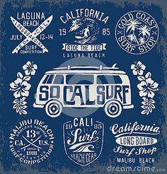Sistema de gráficos y de emblemas que practican surf del vintage