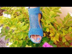 Aprender a tejer sandalia de Pezca tejida a mano crochet en Ganchillo - YouTube