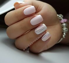 """If you're unfamiliar with nail trends and you hear the words """"coffin nails,"""" what comes to mind? It's not nails with coffins drawn on them. It's long nails with a square tip, and the look has. Easy Nails, Simple Nails, White Nails, Pink Nails, Shellac Nails, Nail Polish, Nail Nail, Nailed It, Gel Nagel Design"""