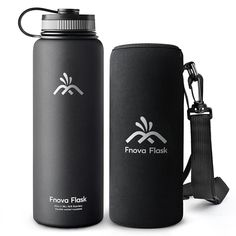 Fnova Flask 40oz Insulated Stainless Steel Water Bottle, Double Walled Vacuum Flask, Wide Mouth bouns Protective Pouch/Carry Cover, BPA-Free, Cold 24 Hrs / Hot 12 Hrs *** You can find out more details at the link of the image.