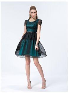 Exquisite A-Line Short Sleeves Scoop Bowknot Lace Short/Mini Cocktail Dress
