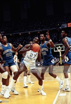 Action during the NCAA Championship as Fred Brown of Georgetown, defends against North Carolina's Michael Jordan. Michael Jordan Unc, Michael Jordan North Carolina, Jordan 23, Basketball History, Basketball Teams, College Basketball, Ncaa, Carolina Pride, Basketball Motivation
