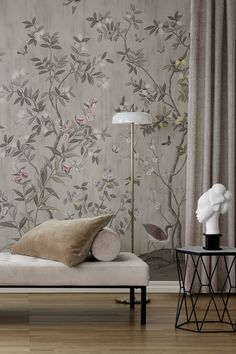 Elegant living room decor with chinoiserie wall mural and luxurious details. Look Wallpaper, Beige Wallpaper, Amazing Wallpaper, Living Room Wall Wallpaper, Teal Rooms, Luxury Interior, Interior Design, Wallpaper Companies, Paint Your House