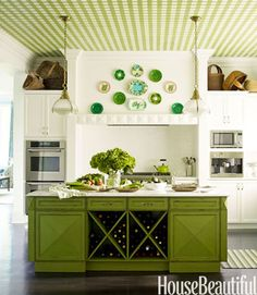Green gingham pattern on a kitchen ceiling with coordinating green kitchen island