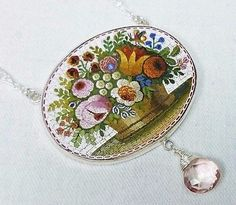 Micro Mosaic Flower Basket Antique Italian Grand Tour Silver Filigree Necklace - $1,249