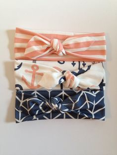 The Becca Collection-Set of 3 Organic Knotted Headbands - Coral Stripes, Coral Anchor, and Navy Herringbone -Ready to Ship