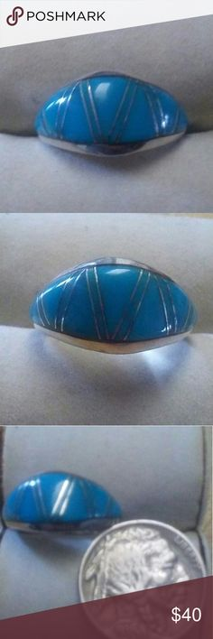 Turquoise Inlay Ring Beautiful turquoise inlay ring I literally just got it today but it's too small my loss is your gain stamped Sterling and Maker's Mark J.E. if you like jewelry like this please go see slouchygarage Native American Jewelry Rings