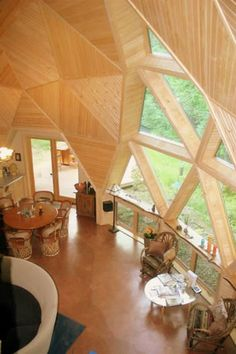 """""""Diagonal forms frequently begin with triangle shapes. The diamond shape results… Bamboo Architecture, Sustainable Architecture, Residential Architecture, Contemporary Architecture, Dome Home Kits, Geodesic Dome Homes, Natural Building, Green Building, Tiny House Nation"""