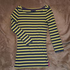 Yellow and Navy Stripped Tee Yellow and navy stripped 3/4 sleeve tee, scoop neckline. Barely worn and comes from a smoke free home! American Eagle Outfitters Tops Tees - Long Sleeve