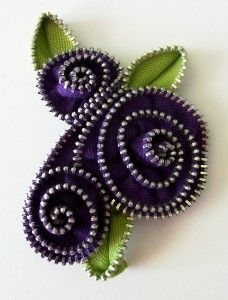 Purple Floral Brooch / Zipper Pin by ZipPinning...