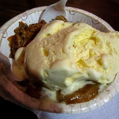 Apple crisp with vanilla ice cream from the Vermont Building at The Big E!