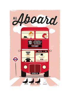 Double decker bus london illustration