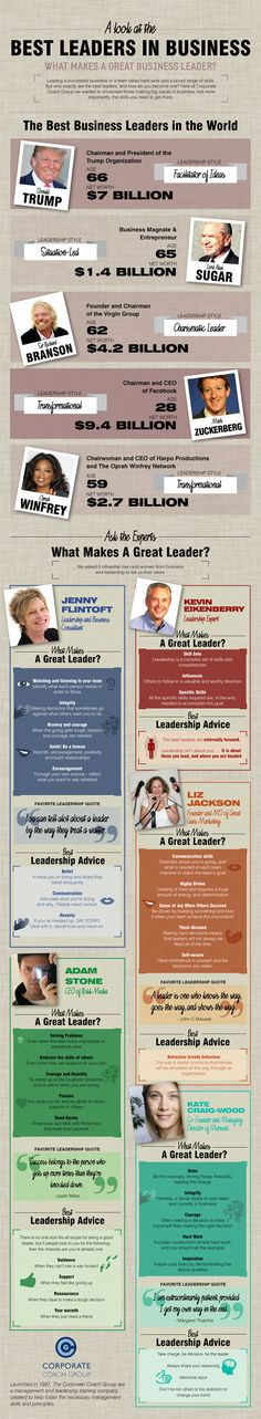A Look At the Best Leaders in Business: Insight Into How To Become A Great Business Leader Leadership Qualities, Leadership Development, Personal Development, Donald Trump, Preschool Director, Follow The Leader, Survival, Management Styles, Business Entrepreneur