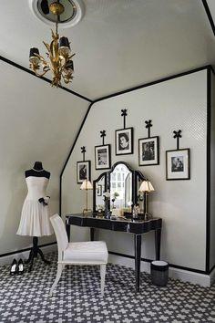 Vintage Dressing Anne Hepfer Designs: Bedroom converted into glamorous black and white vintage closet. Black and white closet . Apartment Living, Furniture Design Modern, House Design, Room, Interior, Home, Skin Furniture, Apartment Decor, Vintage Dressing Rooms