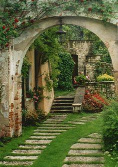 flagstone path, weathered arch, thank you my new backyard Flagstone Path, Italian Villa, Italian Garden, Italian Cottage, Garden Gates, Garden Archway, Dream Garden, Garden Inspiration, Old World