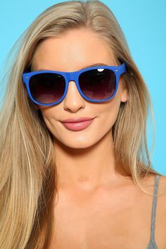 139b77f7b3 Royal Blue Tinted Lens Wayfarer Sunglasses Novelty Sunglasses