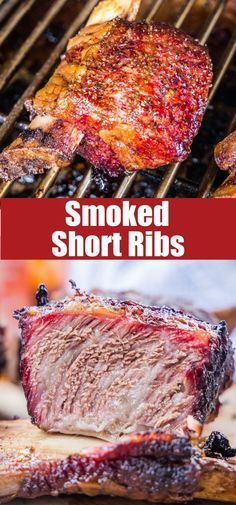Smoked Beef Short Ribs - tender, melt in your mouth beef ribs with a delicious smoke flavor that takes them over the top! They are cooked low and slow for the ultimate comfort food treat! Easy Meat Recipes, Entree Recipes, Delicious Dinner Recipes, Grilling Recipes, Pork Recipes, Lunch Recipes, Yummy Recipes, Smoked Pork Belly Recipe, Smoked Beef Short Ribs