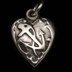 Puffy Heart Charm Sterling Silver Anchor USN Navy Vintage Nautical Jewelry, Heart Charm, Anchor, Charity, Vintage Jewelry, Hearts, Faith, Sterling Silver, Antiques