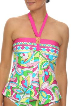 ★★★★★ ''I love my new Tara Grinna swimsuit. The fabric is the pink border print with multi color swirls. The fabric from Italy is very high quality and their design with big panels in front that look like a big pleat is so flattering to hide the tummy. I got the Tankini version and picked out bottoms that go to the waist which also help hold the tummy in.'' Sue See now at http://store.taragrinna-swimwear.com/floral-loose-fit-tankini-ra-144/