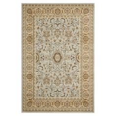 Stylishly anchor your dining set or living room seating group with this elegant loomed rug, showcasing a Persian-inspired motif in ivory and grey.
