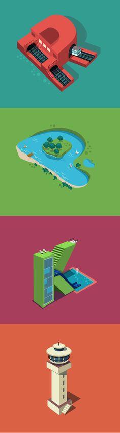 Una serie de ilustraciones recrea paisajes urbanos combinadas con originales modelos de tipografía.