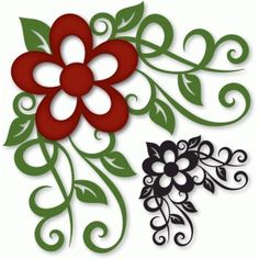 Silhouette Design Store - View Design #43012: flourished flower corner