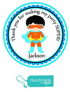 Super Hero Dark Hair Themed Personalized Birthday Party Favors- Custom Birthday Party Favor Stickers - Treat Tag Toppers- 24 Stickers Popular Size 2.5 Inches. Peel- and- Stick Stickers from Custom Party Favors, Handmade Craft , and Educational Products https://www.amazon.com/dp/B01H5FELIE/ref=hnd_sw_r_pi_dp_e86AxbTE0Z229 #handmadeatamazon