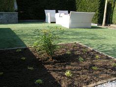 Kunstgras aangelegd en renovatie plantvakken.