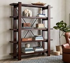 Store and display books and decor with bookshelves and cabinet furniture from Pottery Barn. Our bookshelves feature beautiful designs and solid construction. Pottery Barn Bookcase, Reclaimed Wood Bookcase, Wood Shelves, Glass Shelves, Salvaged Doors, Floating Shelves, Vintage Industrial Furniture, Wood Furniture, Playroom Furniture