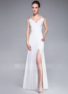 Trumpet/Mermaid V-neck Sweep Train Tulle Jersey Evening Dress With Beading Sequins (017041214) - JJsHouse