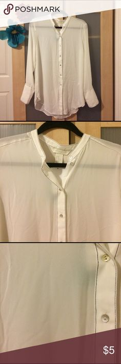 H&M long-sleeved sheer button-up blouse Size 10. Bought on sale - never worn, tag still attached. Part of the H&M Conscious Collection. Very light cream color with dark navy stitching. Please ask if you have any questions. Thank you! H&M Tops Button Down Shirts