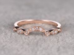 0.15ct Round Cut SI/H Diamonds,Eternity Wedding Band,Solid 14K Rose gold,Anniversary Ring,Art deco,stackable ring,Curved,milgrain by popRing on Etsy