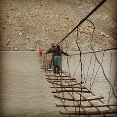 bridge over Hunza river. Something good better be waiting on the other side