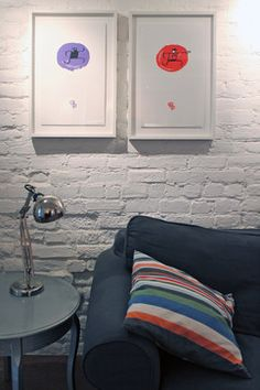 Contemporary color brightens up a basement studio apartment - transitional - Spaces - Montreal - Laura Garner