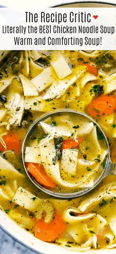 Literally the BEST Chicken Noodle Soup has thick chicken chunks, sliced carrotsand celery, wide noodles soaking in a smooth chicken broth filled with flavorful seasonings and cooked to perfection. A warm and comforting soup this winter!