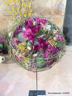 colourful round/ball of flowers floral arrangement Modern Floral Arrangements, Christmas Floral Arrangements, Wedding Flower Arrangements, Flower Centerpieces, Flower Decorations, Flower Ideas, Flower Art, Flower Names, Floral Necklace