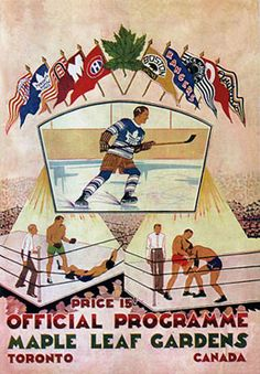 Toronto Maple Leafs  The official program from the Toronto Maple Leafs' first game at Maple Leaf Gardens on 12 November 1931 (public domain).