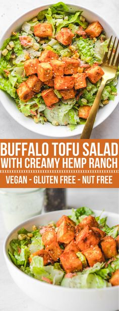 Buffalo Tofu Salad with Hemp Ranch #vegan #glutenfree | From My Bowl