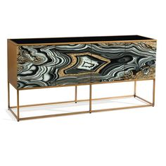 Limited Production Design & Stock:  Grand Agate Sideboard  * Reverse Art Glass Design * Black Glass Top * Aztec Gold Frame *  Inc: 4 Cupboards With Shelving * 34 x 72 x 18 inches  * Only Few Remaining