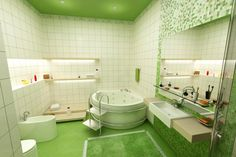 Když se stane z koupelny wellness (Foto: Shutterstock) Bathroom Flooring, Tropical Bathroom, Amazing Bathrooms, Bathrooms Remodel, Blue Bathrooms Designs, Bathroom Kids, Green Bathroom, Colorful Bathroom Tile, Color Bathroom Design