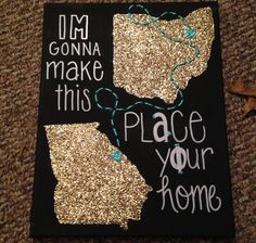 Long distance canvas with two states, custom quote, and trail leading to two special cities