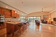 This home's use of space is brilliant. Open concept kitchen and living room