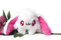 Fluse: Kawaii Plush cute Albino Bunny  Pink Plüsch